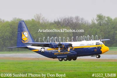 USMC Blue Angels Fat Albert C-130T #164763 at the Great Tennessee Air Show practice show at Smyrna aviation stock photo #1512