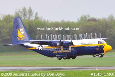 USMC Blue Angels Fat Albert C-130T #164763 at the Great Tennessee Air Show practice show at Smyrna aviation stock photo #1513