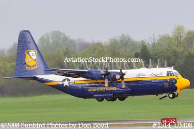 USMC Blue Angels Fat Albert C-130T #164763 at the Great Tennessee Air Show practice show at Smyrna aviation stock photo #1514