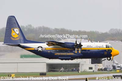 USMC Blue Angels Fat Albert C-130T #164763 at the Great Tennessee Air Show practice show at Smyrna aviation stock photo #1515