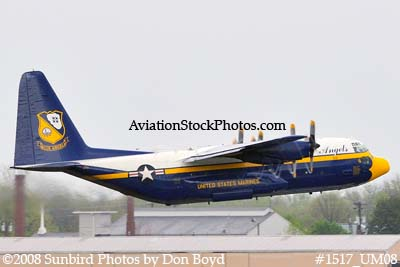 USMC Blue Angels Fat Albert C-130T #164763 at the Great Tennessee Air Show practice show at Smyrna aviation stock photo #1517