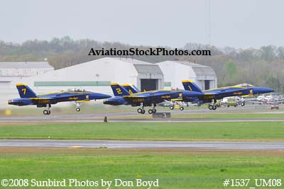 The Blue Angels taking off at the 2008 Great Tennessee Air Show practice show at Smyrna aviation stock photo #1537