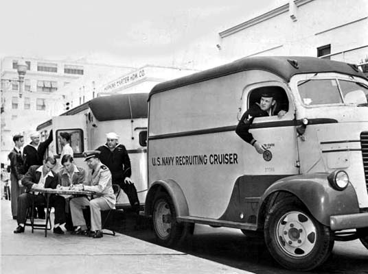 1943 - the Navy Recruiting Cruiser down the street from Hopkins-Carter Hardware Company