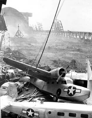 1945 - destruction of aircraft and hangars at Richmond Naval Air Station in southwest Dade County