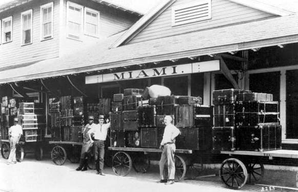 1921 - baggage at the Florida East Coast Railway depot in downtown Miami