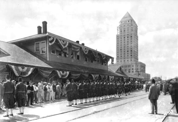 1930s - the Shriners at the Florida East Coast Railway station in downtown Miami