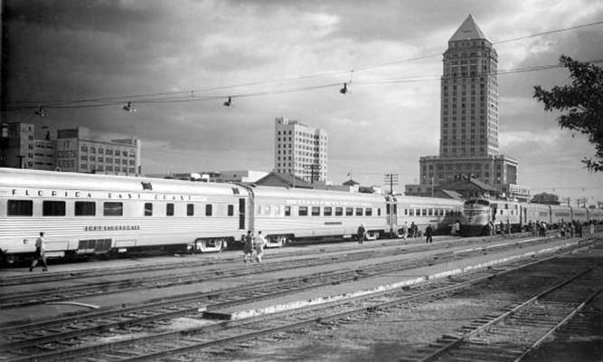 1950s - the Florida East Coast Railway Champion locomotive at the downtown train station