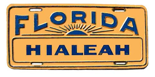 1950s - front bumper license plate for Hialeah