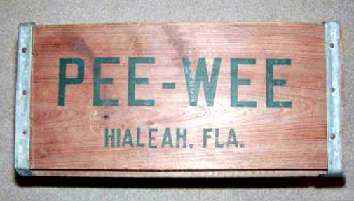 1950s-1960s - the end of a Pee-Wee Soda crate used for shipping bottles from Hialeah