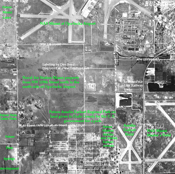 1952 - north Hialeah, NAS Miami at Opa-locka Airport, Amelia Earhart Field and Masters Field