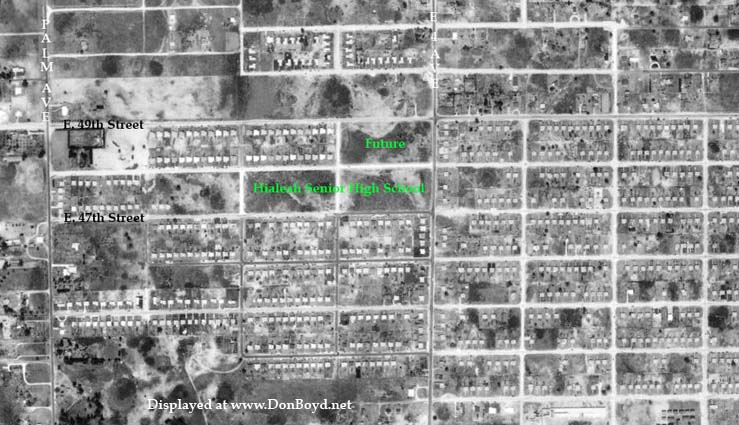 1952 - north Hialeah with the vacant land where Hialeah Senior High School would be built in 1954