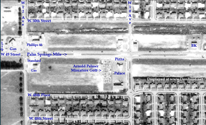 1963 - aerial view of Palm Springs Mile east of W. 12th Avenue featuring the Pizza Palace and Arnold Palmer Miniature Golf