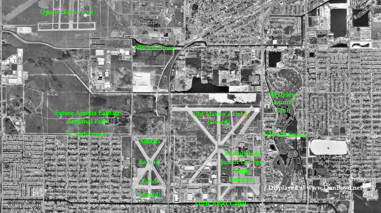 1970 - aerial view of Opa-locka Airport, Amelia Earhart Field (closed) and Masters Field (closed), Miami