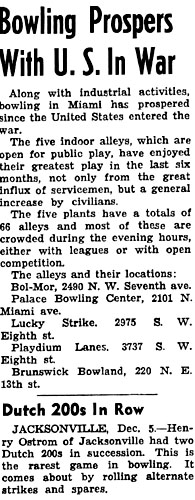 1943 - article about Miami bowling alley popularity with locations of the bowling alleys at the time (comments below)