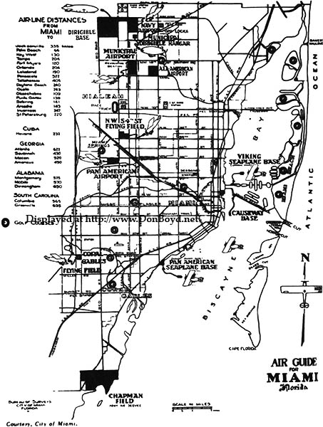 1930s - Air Guide for Miami, depicting airfields in Dade County at the time