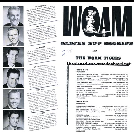 Mid 1960s - WQAM Oldies but Goodies record album back cover