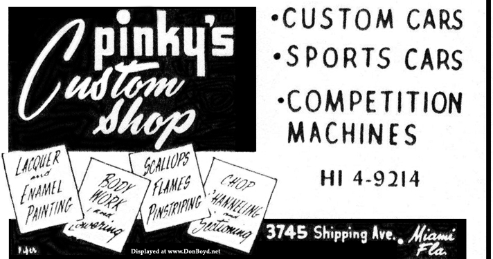 Late 1950s - ad for Pinkys Custom Shop