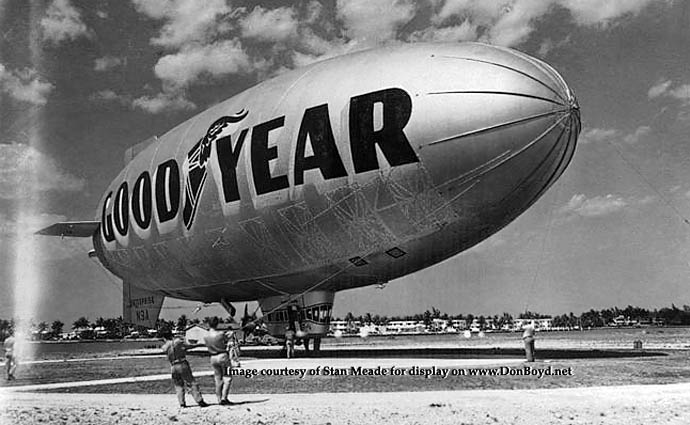 Early 1950s - the Goodyear Blimp L-Ship Enterprise N3A on the northeast side of Watson Island