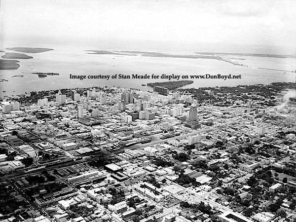 1950s - aerial view looking southeast over downtown Miami