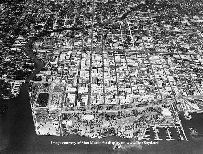 1950s - aerial view looking west over downtown Miami