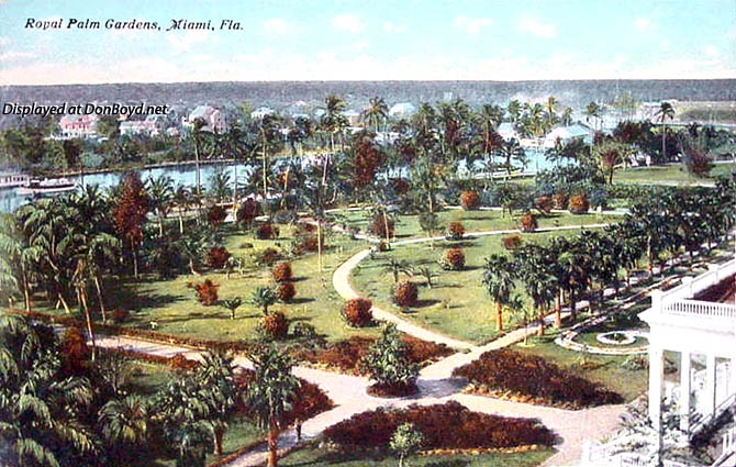 1910 - the lush gardens at the Royal Palm Hotel,  Miami