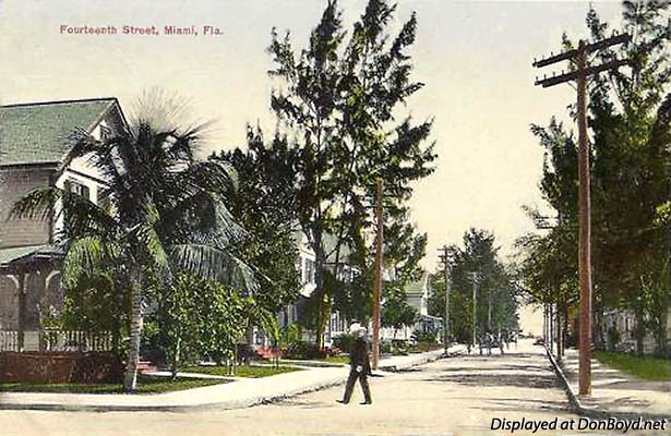 1920s? - NE 14th Street looking east towards Biscayne Bay, Miami