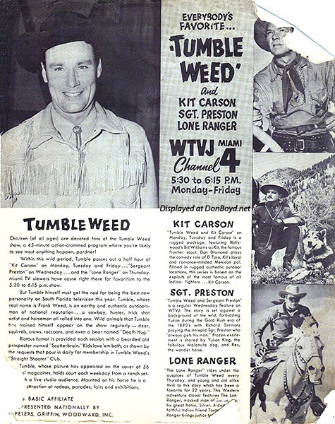 1950s - WTVJ Channel 4 ad for Tumbleweed package of western shows from 5:30pm to 6:15pm Monday through Friday