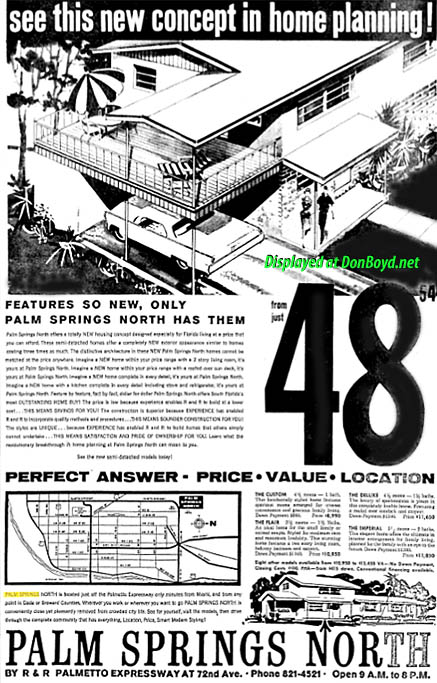 1962 - ad for new homes in Palm Springs North by R&R