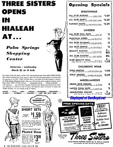 1960 - ad for grand opening of Three Sisters at Palm Springs Village Shopping Center on March 30th
