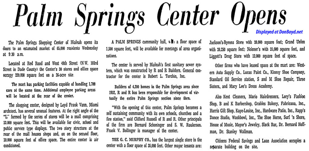 1960 - ad article about the grand opening of the Palm Springs Village Shopping Center on March 30th