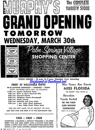 1960 - ad for the grand opening of G. C. Murphys at the Palm Springs Village Shopping Center on March 30th
