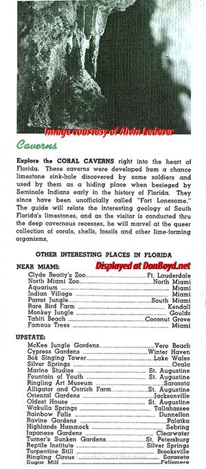 1930s - brochure for the Lost Lake Caverns tourist attraction in Miami