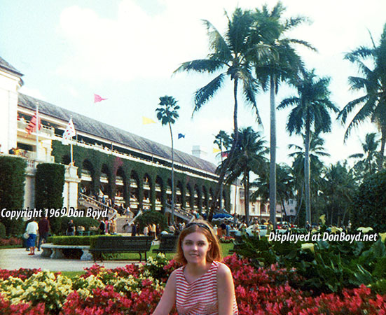 1969 - a view of the gardens and grandstand at Hialeah Park