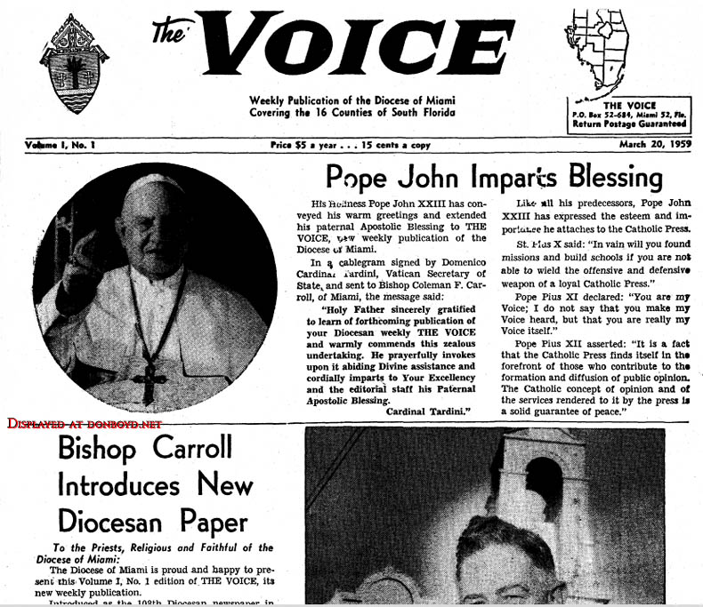1959 - 1st issue of the VOICE, serving the Catholic Diocese of Miami covering 16 counties of South Florida