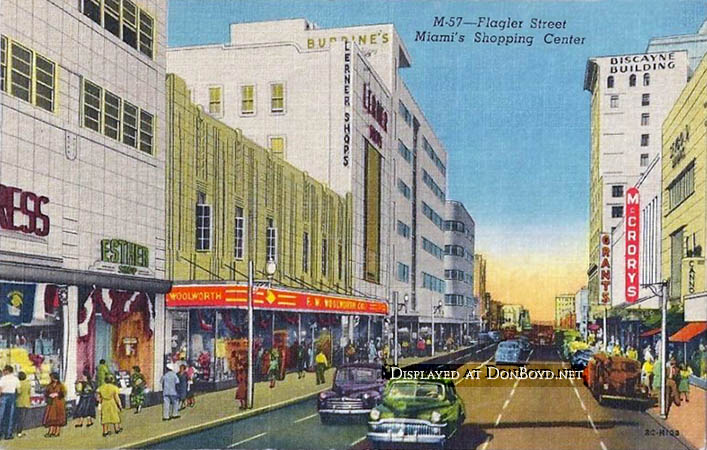 1950 - looking west on Flagler Street, Miamis Shopping Center  (see information below)