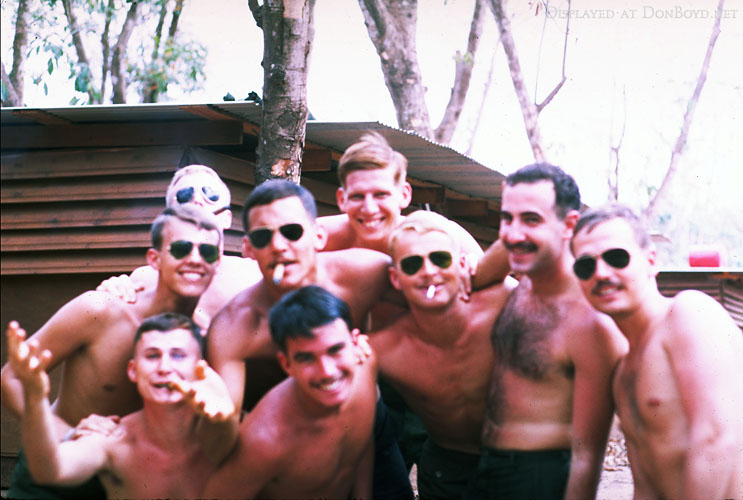 Hal Weise (rear center/red hair), Frank McWhirter and Ron Gunther (2nd from right) and other Army Cobra helo pilots in Vietnam