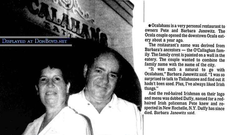 1994 - article about Barbara and Pete Janowitz (formerly of Janos in Hialeah) and their Ocalahans Eatery in Ocala