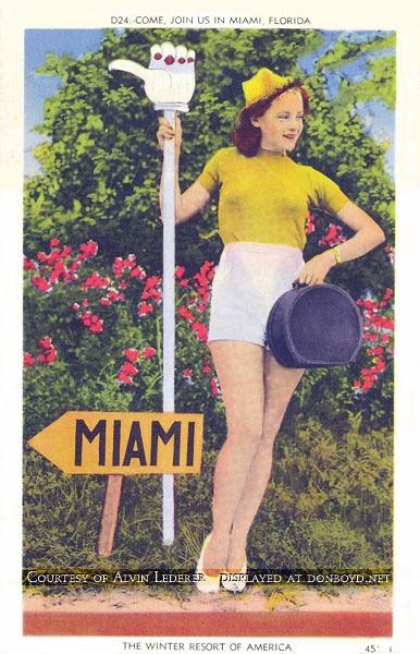 1940 - postcard promoting Miami - Come join us in Miami, Florida, the winter resort of America