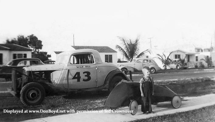 1951 - Ted Crownover, his dads stock car and his pedal car made of aircraft parts