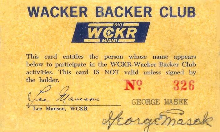 1960s - WCKR 610 AM Wacker Backer Club card