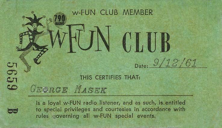 1961 - WFUN Club 790 AM card