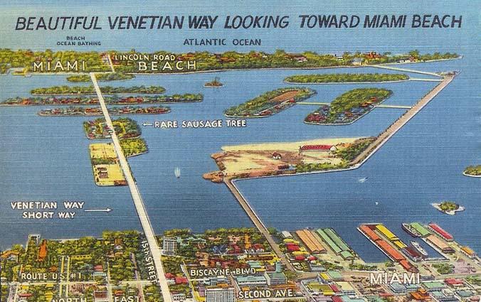 1944 - postcard of Venetian Way postmarked January 7, 1944