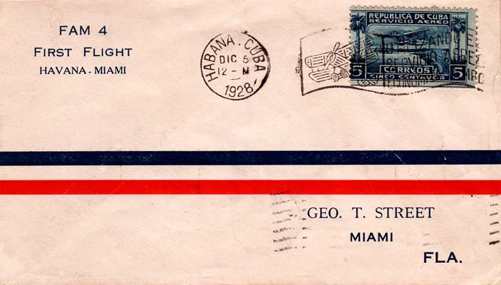 1928 - Pan American World Airways first flight from Havana to Miami first day cover to George T. Street