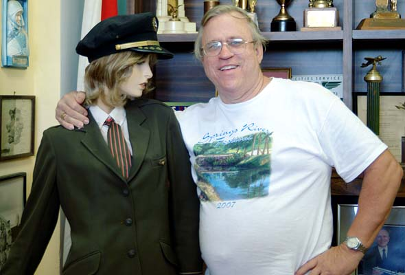 2008 - Mel Johnson (HHS 65) and an Eastern Flight Attendant at the Miami Springs Historical Museum
