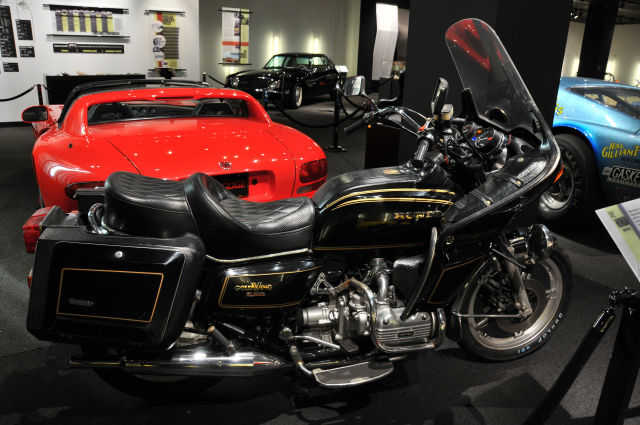 1982 Honda Gold Wing, with touring accessories, such as a trunk and saddlebags, made of fiberglass; from private collection