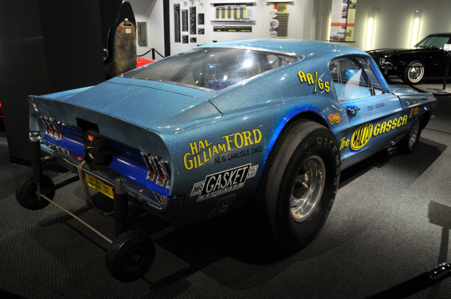 1967 Ford Mustang MALCO Gasser, from museum collection. In 1960s, gassers were mass-produced cars modified for drag racing.