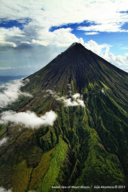 Aerial view of Mount Mayon
