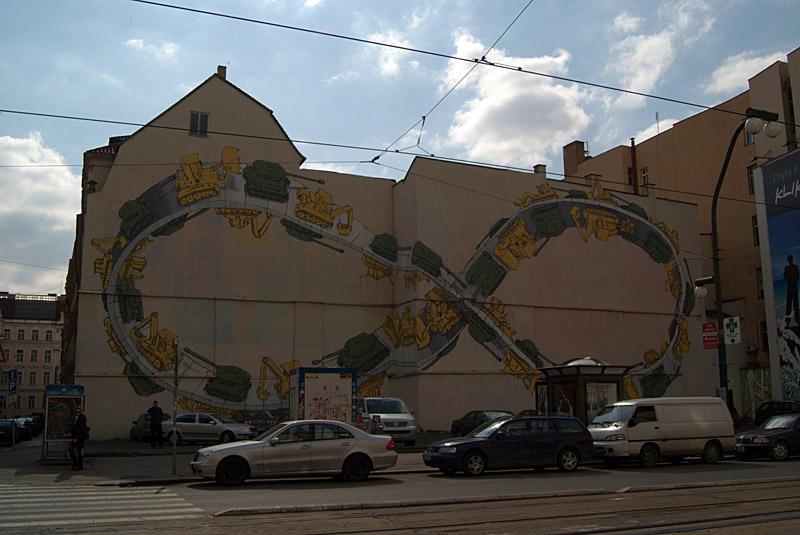Mobius Strip Mural Tanks and Bulldozers Prague