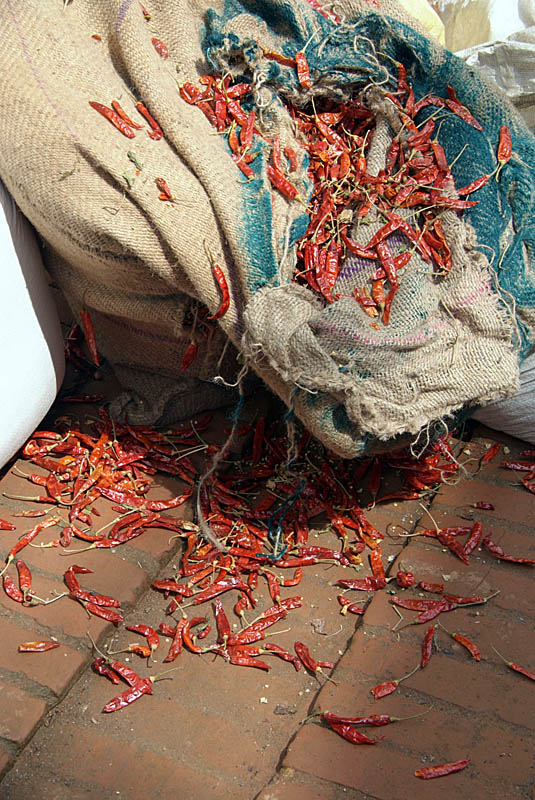 Chilies Spilling out of Sack