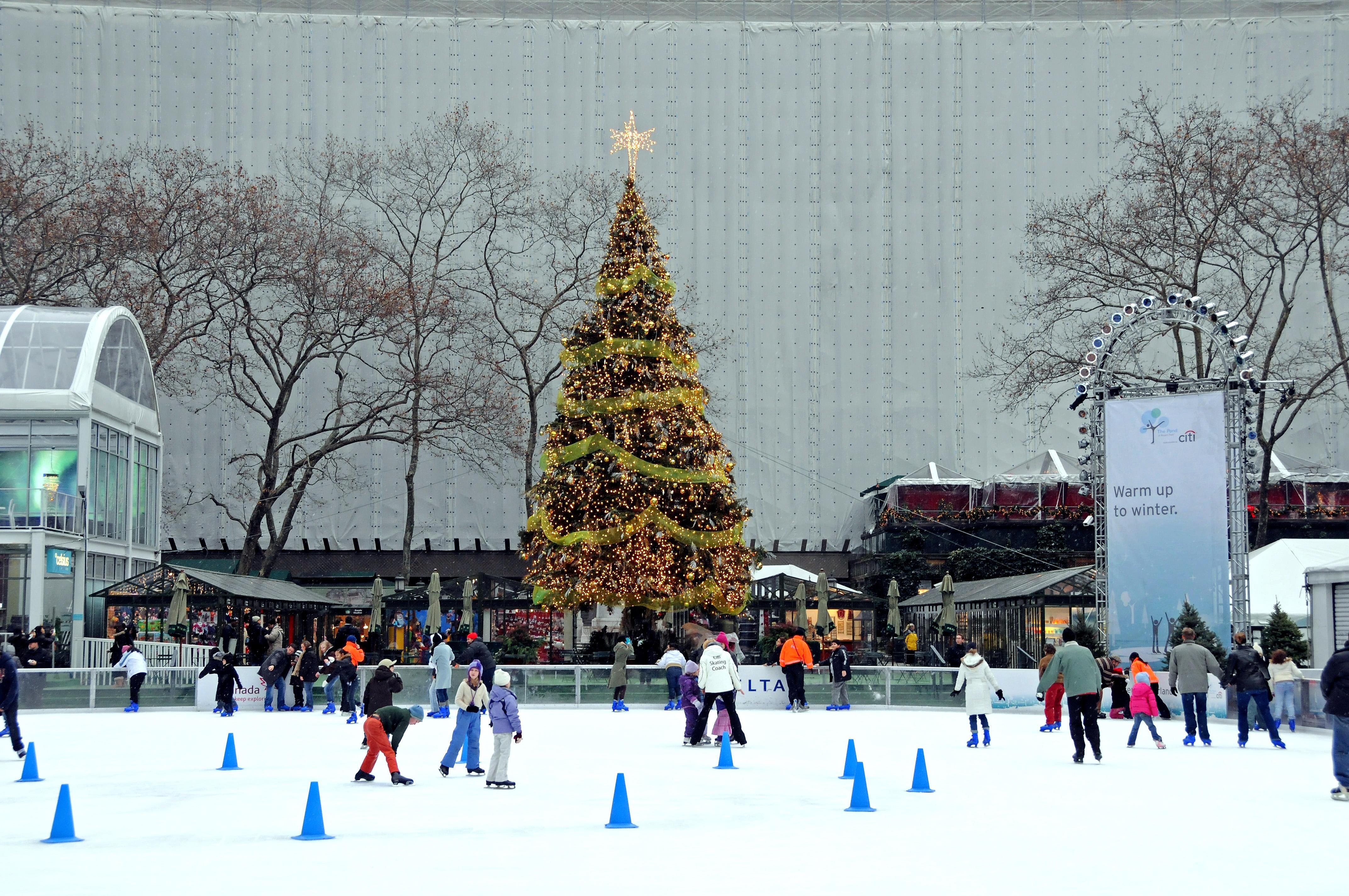 bryant park pond ice skating christmas tree